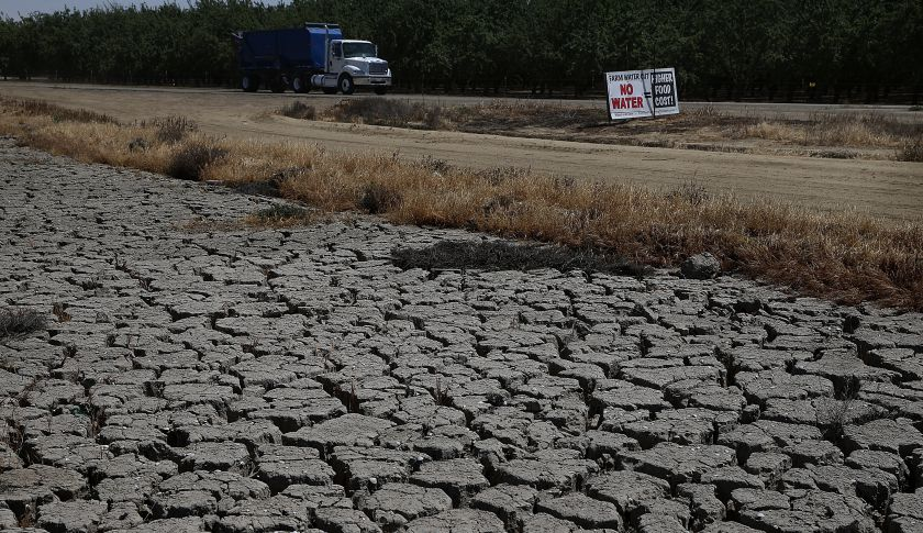 FIREBAUGH, CA - APRIL 24:  Dry cracked earth is visible near an almond orchard on April 24, 2015 in Firebaugh, California. As California enters its fourth year of severe drought, farmers in the Central Valley are struggling to keep crops watered as wells run dry and government water allocations have been reduced or terminated. Many have opted to leave acres of their fields fallow.  (Photo by Justin Sullivan/Getty Images)