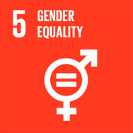 red box with white text - SDG goal number 5 - Gender Equality