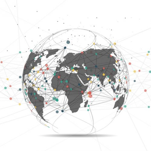 globe with data points all around the world