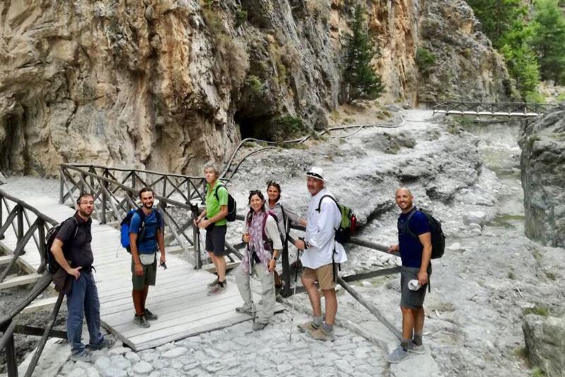 people hiking in samaria, greece