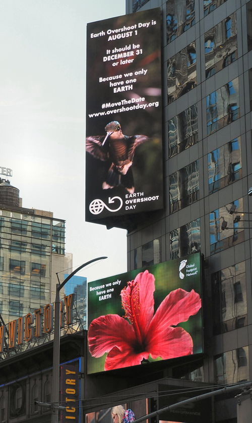 Earth Overshoot Day ad in New York's Times Square