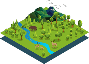 isometric illustration of field of wildlife, trees, and river