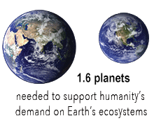 "two Earths above text ""1.6 planets are needed to support humanity's demand on Earth's ecosystems"""