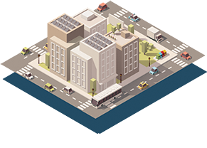 isometric illustration of city block