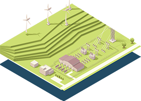 isometric illustration of field with wind turbines