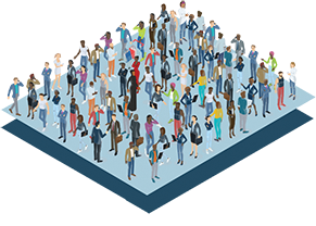 isometric illustration of a crowd of people