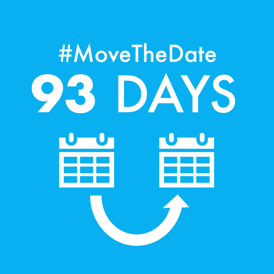 "blue square with white text ""#MoveTheDate 93 days"" reduce humanity's carbon footprint by 50%"