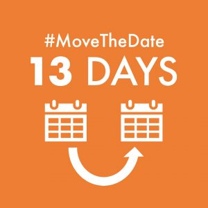 green box with white text - #MoveTheDate 13 days
