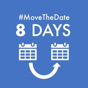 green box with white text - #MoveTheDate 8 days