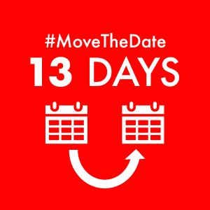 red box with white text - #MoveTheDate 13 days