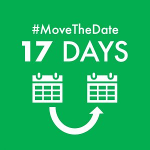 green box with white text - #MoveTheDate 17 days