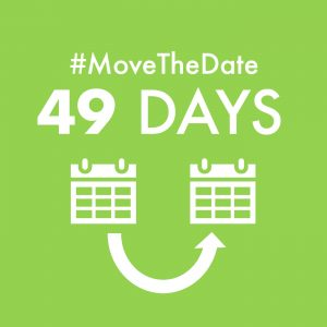 green box with white text - #MoveTheDate 49 days population