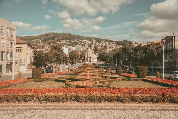 guimaraes portugal city castle view